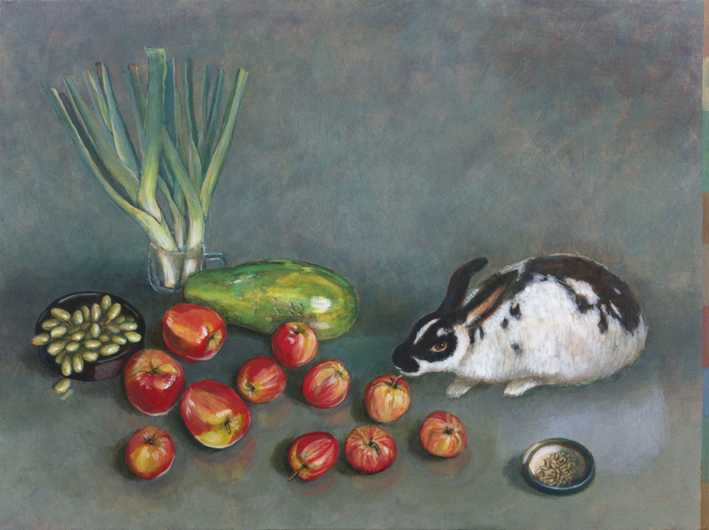 Still life with papaya and rabbit.